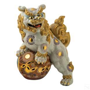 Chinese Enameled Porcelain Foo Dog Lion Sculpture
