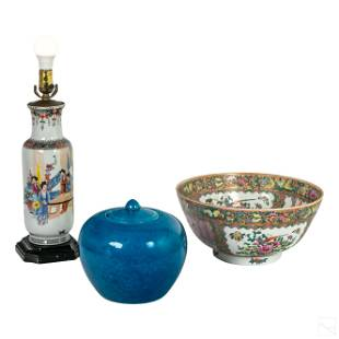 Chinese Porcelain Lamp, Ginger Jar and Centerpiece