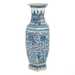 Chinese Export Blue & White Porcelain Floral Vase