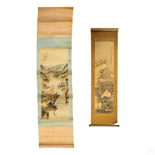 Chinese Antique Silk Scrolls Landscape Paintings