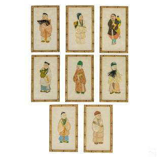 Chinese Traditional Painted Silk Immortals Figures