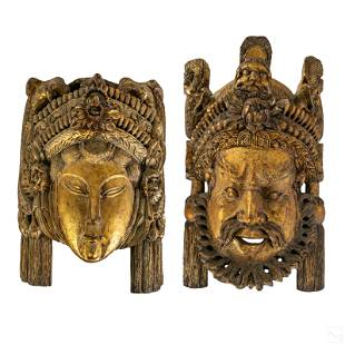 Chinese Tibetan Traditional Carve Wood Bodhi Masks