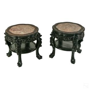Chinese Carved Wood & Round Marble Top Side Tables