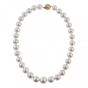 Large & Fine 18k Gold 11mm Pearl Necklace Strand