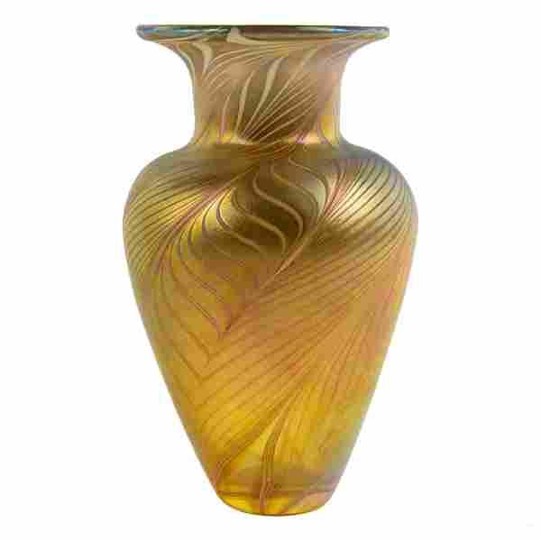 Robert D. Held (b.1943) Iridescent Art Glass Vase