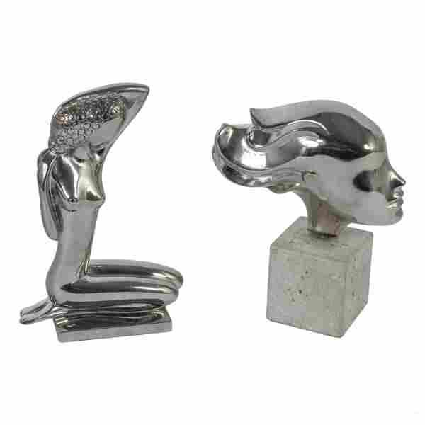 Modern Female Nude & Bust Chromed Metal Sculptures