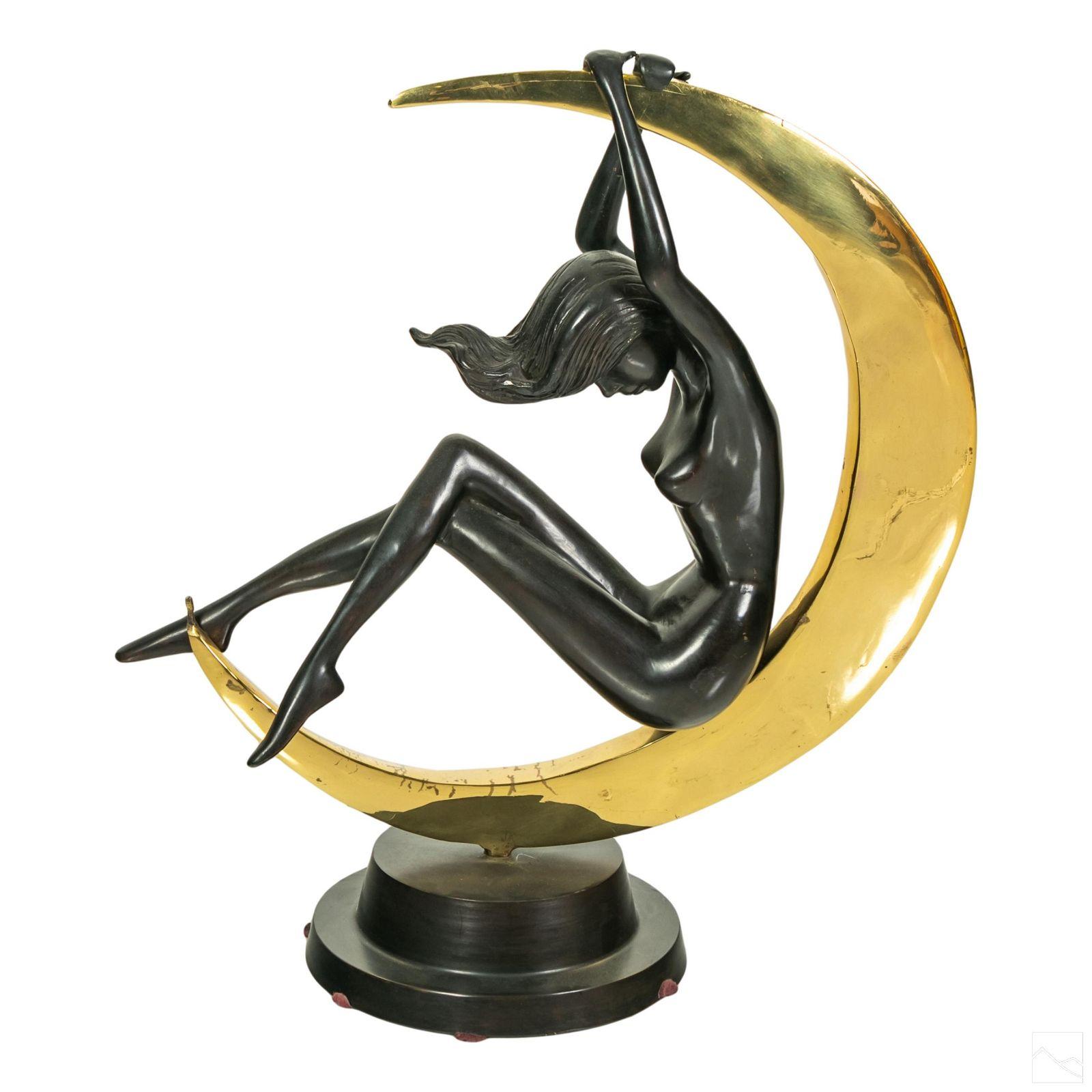 Modern Bronze Nude Woman & Crescent Moon Sculpture