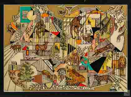 Herman Schwartz (b.1904) Wildlife Pop Art Painting