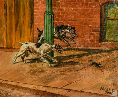 Jozef Dom Figural Dogs & Mouse Painting Dated 1908