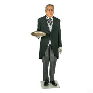 Hyper-Realistic Life Sized Male Butler Sculpture