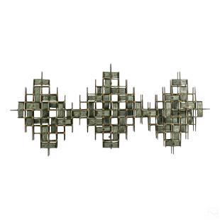 Mid Century Modern Brass Nails Wall Art Sculpture