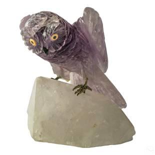 Natural Carved Amethyst Geode Quartz Owl Sculpture
