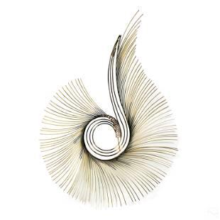 Curtis Jere Modern Brass Peacock Sunbeam Sculpture