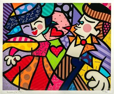 Romero Britto (b.1963) Pop Art Cubist HC Serigraph