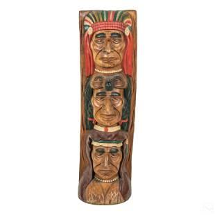 Cigar Shop Carved Wood Indian Totem Pole Sculpture