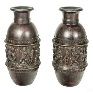 Monumental Figural Carve Wood Vases w Latin Script