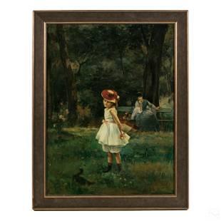 George Vuillard b.1956 Ducks Figural Oil Painting