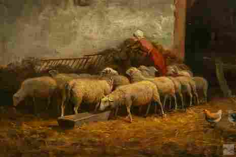 Frans van Leemputten 1850-1914 Farm Genre Painting