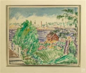 Abraham Walkowitz 1878-1965 Landscape Oil Painting