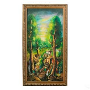 Haitian Folk Art Signed c.1960s Landscape Painting