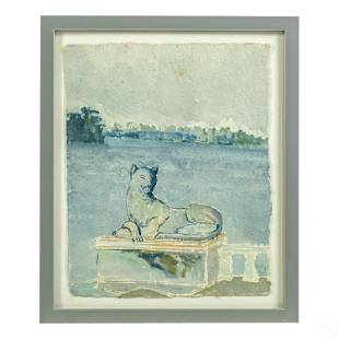 Modern Abstract Figural Signed Landscape Painting