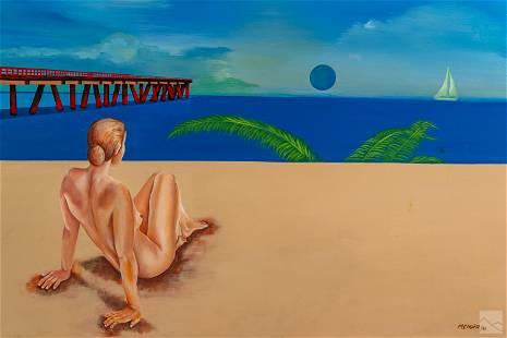 M.C. Munoz 20C. Beach Landscape Painting with Nude