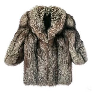 Ladies Silver Fox Fur Coat & Designer Stole Scarf