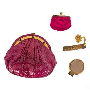 Judith Leiber Gemstone & Magenta Snakeskin Handbag