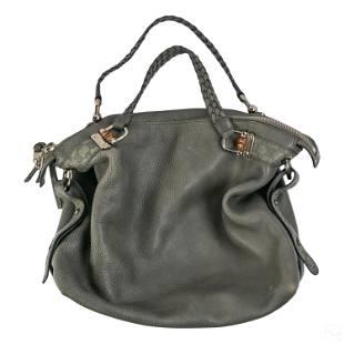 Gucci GG Italian Leather Hobo Gray Handbag Purse