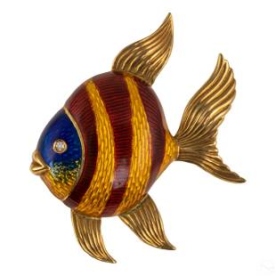Tiffany & Co. 18K Gold Angel Fish Brooch Pin 7.8g.