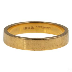 Tiffany & Co. 18K Gold Modern Flat Band Ring 5.6g.