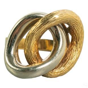 Carl Bucherer 18K Gold Designer Retro Ring Sz 9.25