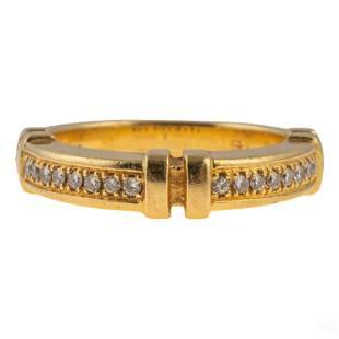 18K Gold Modern Italian Ladies Diamond Ring 6g Sz6