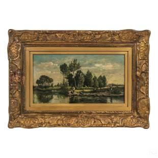 Aime Perret (1847-1927) Figural Landscape Painting