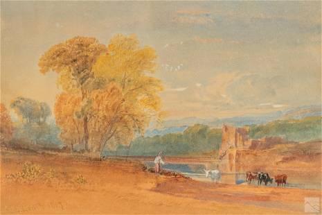 William L Leitch (1804-1883) Landscape WC Painting