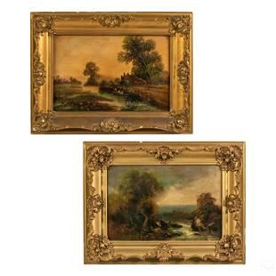 Figural Forest Landscape Antique Oil Paintings LOT
