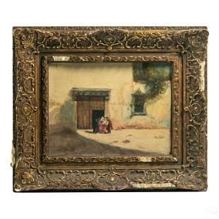 19C Orientalist Antique Figural Landscape Painting