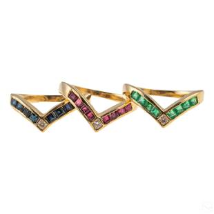 14K Gold Sapphire Ruby Emerald Diamond Stack Rings