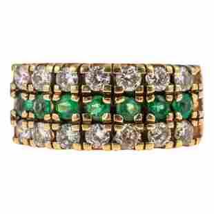 14K Gold Ladies Emerald and Diamond Ring 5.7g. Sz5