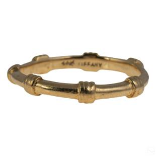14K Gold Tiffany & Co Faux Bamboo Band Ring 2g s 8
