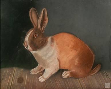 Ella Ensign 20C Farm Life Wildlife Rabbit Painting