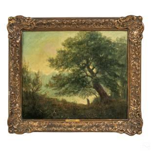 L.V. Pons Figural Antique Landscape Oil Painting