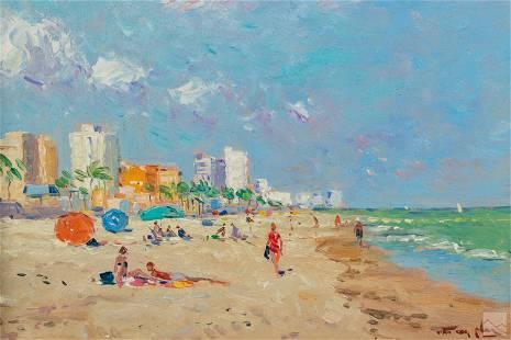 Niek Van Der Plas b.1954 Beach Landscape Painting