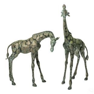 Modern Bronze Giraffes Exterior Garden Sculptures
