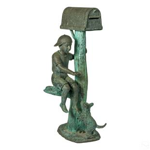 Modern Bronze Boy Dog and Mailbox Garden Sculpture