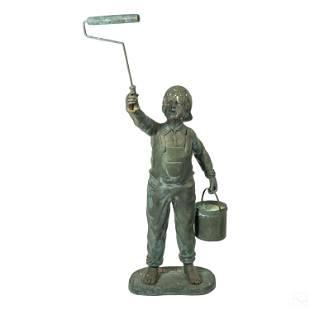 Modern Bronze Tom Sawyer Figural Garden Sculpture