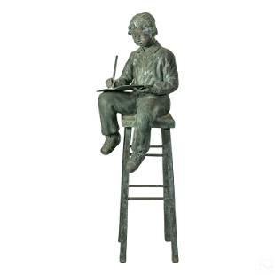 Modern Bronze School Boy Exterior Garden Sculpture