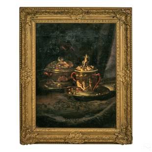 Barsi 19C. Antique Figural Still Life Oil Painting