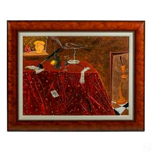 Modern Russian Signed Figural Still Life Painting