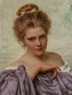 Tito Conti 1842-1924 Antique Portrait Oil Painting